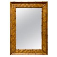 Woven Herringbone Rattan Faux Bamboo Wall Mirror