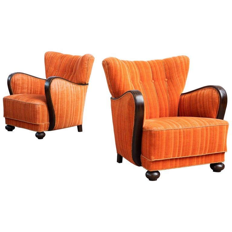 Mogens Lassen Style Danish 1940s Lounge Chairs with Carved Wood Armrests For Sale