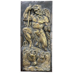 """""""Poseidon and Vulcan,"""" Marvelous Brass Repoussé Relief Sculptures, Nude Males"""