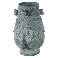 Chinese Han Dynasty-Style Patinated Bronze Urn