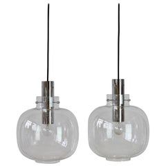 Limburg Large Pair of Vintage 1970s Clear Bubble Glass and Chrome Pendant Lights