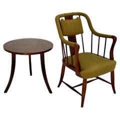 Art Deco Era Josef Frank Vintage Walnut Set Coffee Table Armchair, c 1930 Vienna
