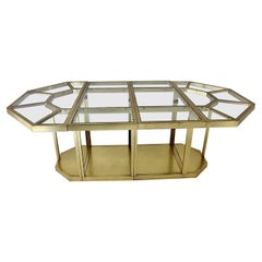 Hollywood Regency Style Dining Table Center Table Brass Glass, 1970s, Italy