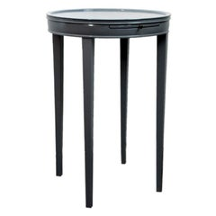 Round Gray Lacquer Occasional Table