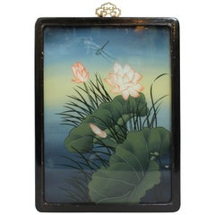 Chinese Export Reverse Glass Dragonfly Painting