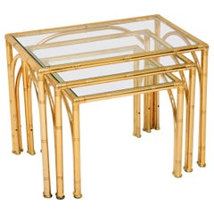 Vintage Brass Faux Bamboo Nest of Tables