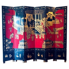 Chinese Export Coromandel Lacquer and Gilt Six Fold Screen