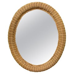 Wicker Framed Wall Mirror in the Manner of Bielecky Brothers