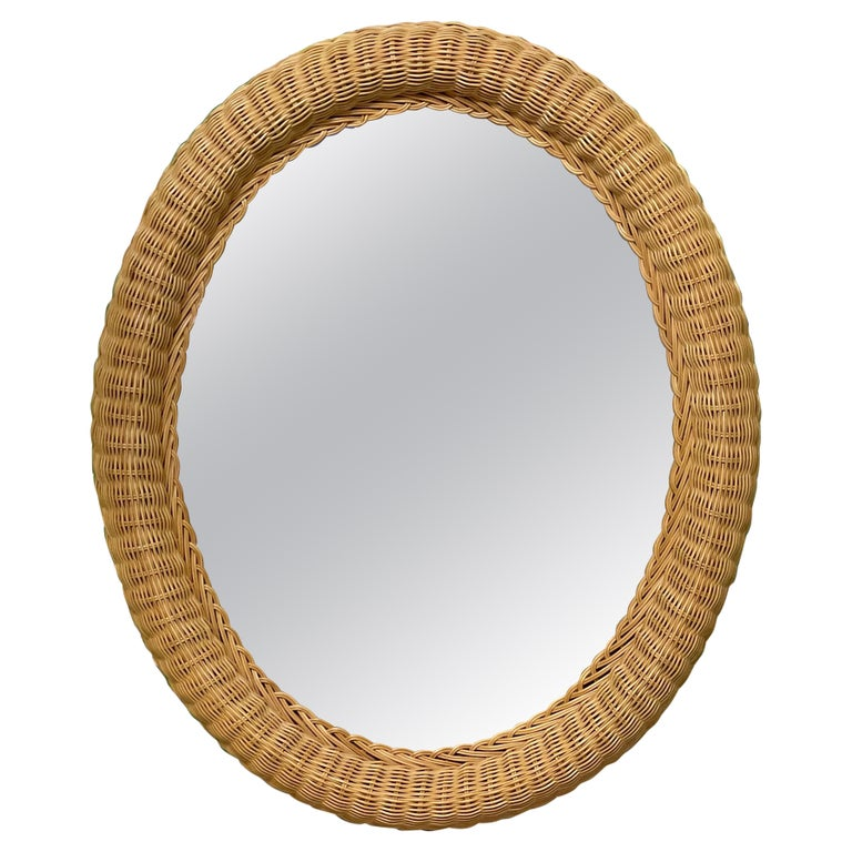 Wicker Framed Wall Mirror in the Manner of Bielecky Brothers For Sale