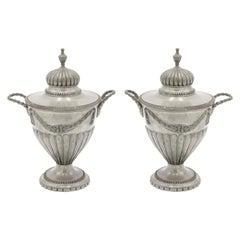 Pair of English Victorian Adam Pewter Urns