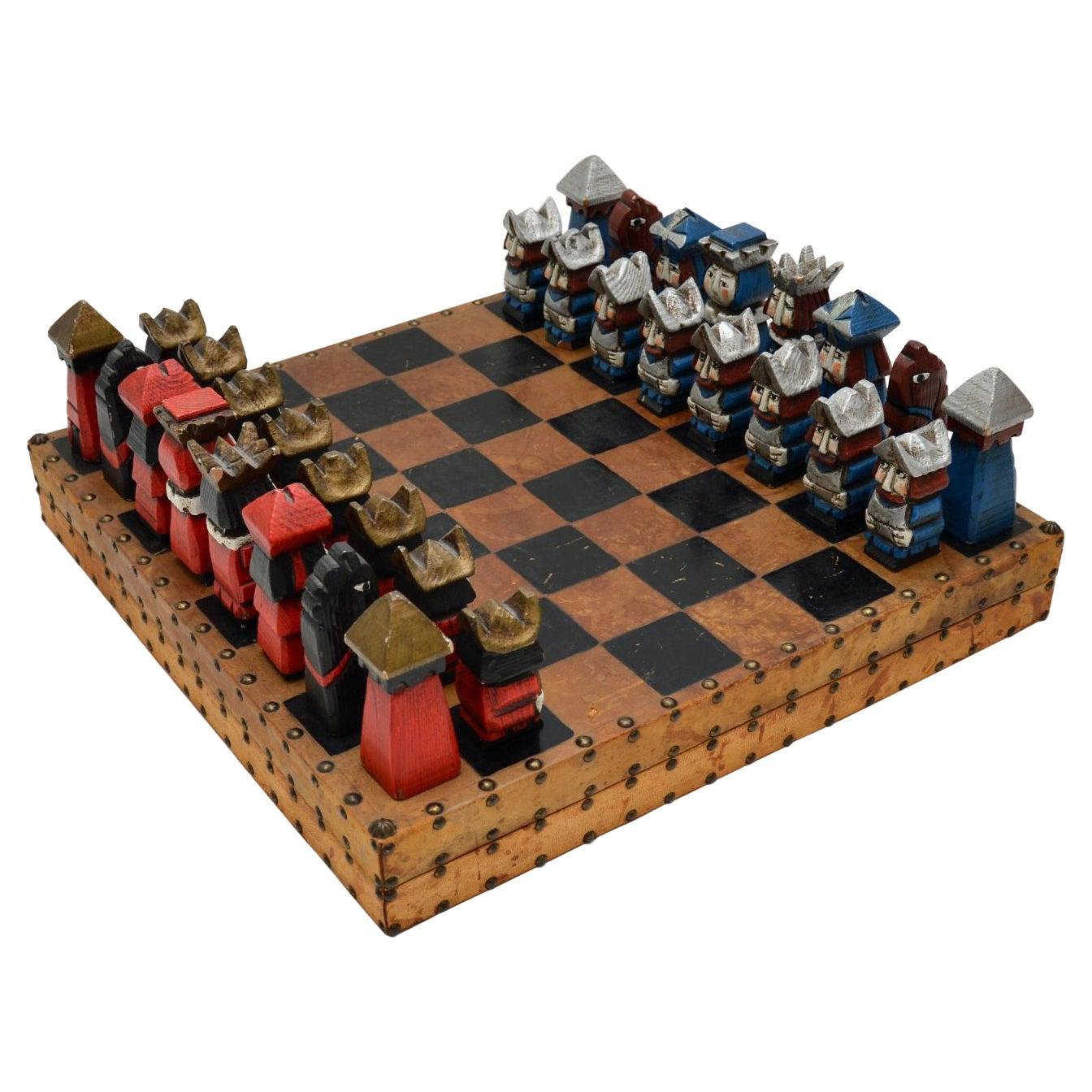 Large and Unusual Vintage Leather Bound Chess Set