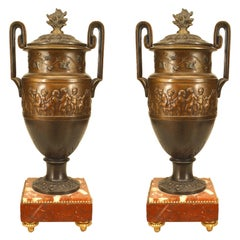 Pair of French Victorian Bronze Patinated Urns