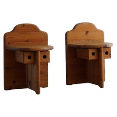 Mid Century Swedish Night stands in Pine, in Style of Axel Einar Hjorth, 1950s