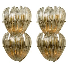 Large J.T. Kalmar Wall Lights Glass Leaves and Brass, 1960