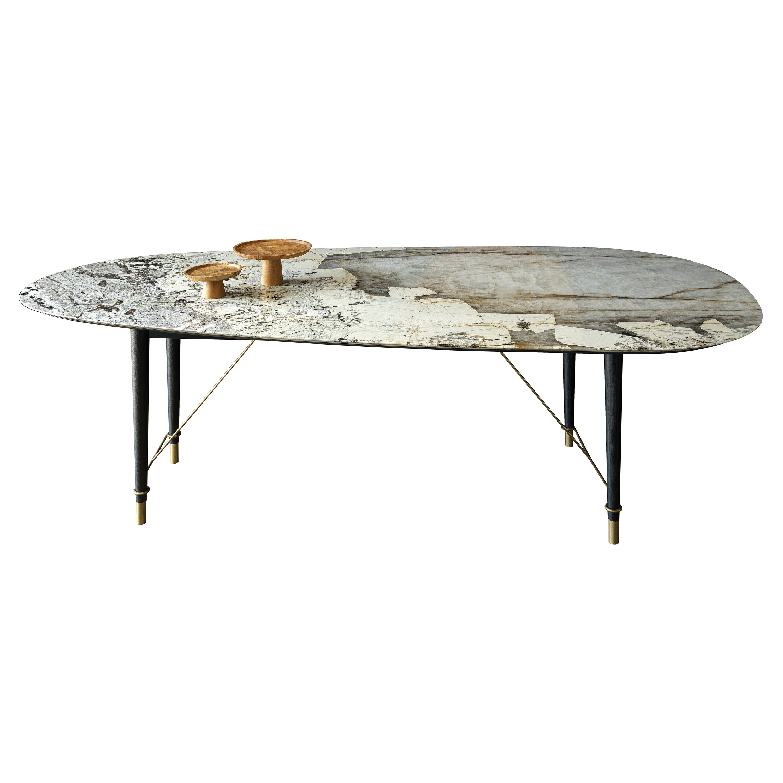 21st Century by Pelizzari Studio Patagonia Marble Table Shapely Black Legs