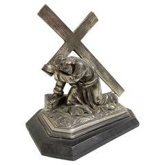 Vintage Decorative Jesus Metal Statue on Ebonized Wooden Base, Germany 1910s