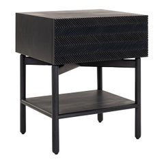 Black Hand Carved Night Stand in Cedar Wood with One Drawer, Auxiliar Table