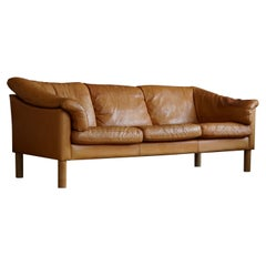 Mid Century Danish Three Seater Sofa in Cognac coloured Leather, 1970s