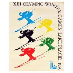Original Vintage Sport Poster Lake Placid 1980 Winter Olympic Games Skiing USA