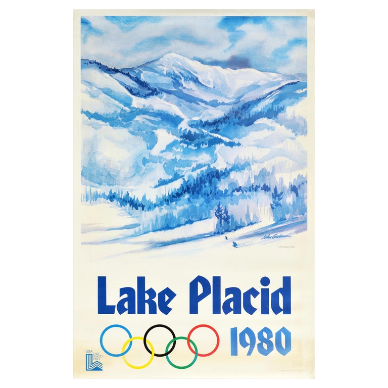 Original Vintage Sport Poster Lake Placid 1980 Winter Olympics Skiers Mountains For Sale