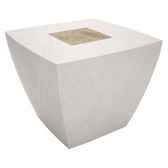 Modern Square Side Table in Thay White Wood and Brass, Made in Italy