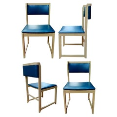 Lot of Four Design Wood Chairs Original, 1970s