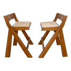 Pair of Compas Wood Counter Stools, Italy