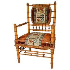 Bamboo Armchair with Original Tapestry Upholstery