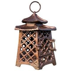 "Japanese Antique Hand Cast ""Double Pagoda"" Lantern"
