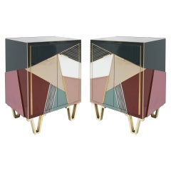 Mid-Century Modern Style Wood Colored Glass and Brass Pair of Italian Sideboards