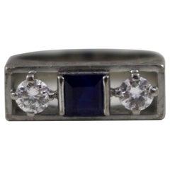 Sapphire & Diamond Art Deco Style Three Stone Ring