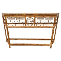 Faux Bamboo Tole Chinoiserie Console with Faux Painted Tortoise Top