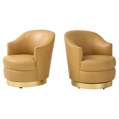 Karl Springer Pair of Swivel Chairs in Camel Edelman Leather and Brass, 1980s