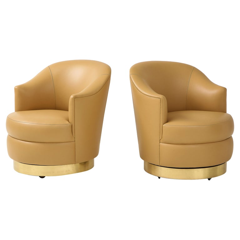 Karl Springer Pair of Swivel Chairs in Camel Edelman Leather and Brass, 1980s For Sale
