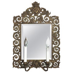 French Wall Mirror Brass Double Light Scones
