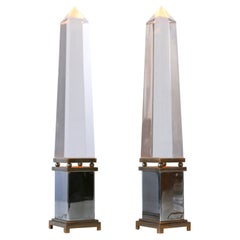 Set of Two Lucite Obelisk Table Lamps by Sandro Petti for Maison Jansen France