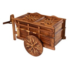 Handcrafted Oxcart Wagon Bar Cart With Intricate Wood Inlay Marquetry