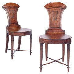 Pair of Late George IV / Regency Mahogany Hall Chairs