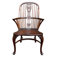George III Style Carved Mahogany Windsor Armchair in the Hepplewhite Style