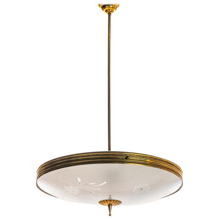 1950's Brass & Glass Pendant in Style of Pietro Chiesa For Sale