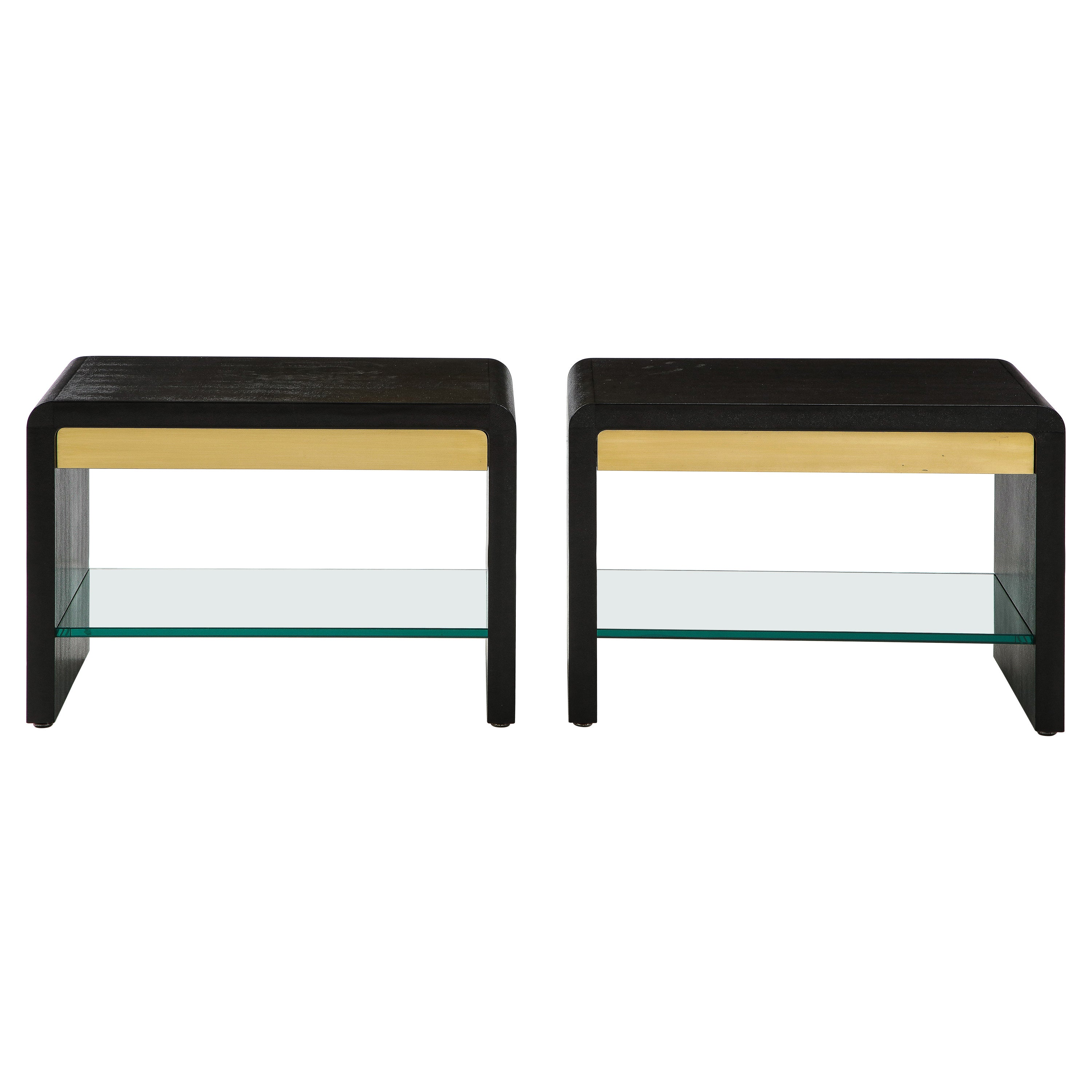 Karl Springer Rare Pair of Waterfall Side Tables in Black Lizard Leather, 1970s