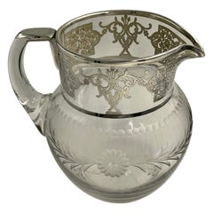 Silver Overlay Floral Etched Clear Glass Water Pitcher Jug Decanter