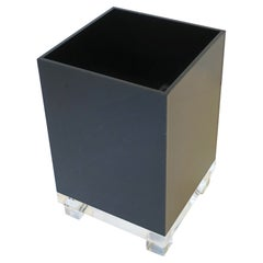 Black Acrylic and Lucite Wastebasket Trash Can