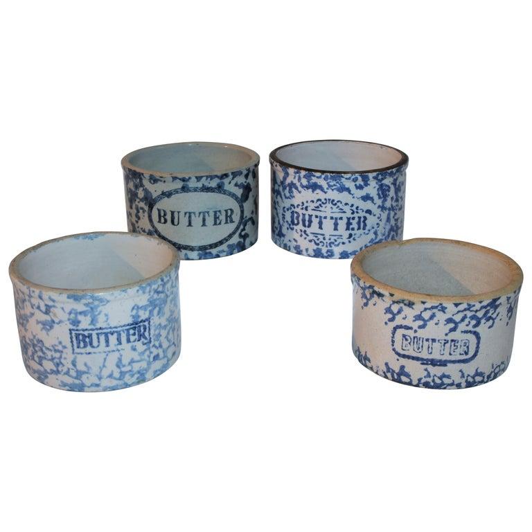 19Thc Blue & White Sponge Ware Pottery Butter Crocks, 4 For Sale
