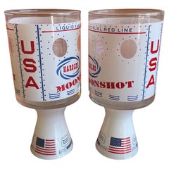 "Set of Two Atomic Age Harold's Casino ""Moonshot"" Cocktail / Shot Glasses"