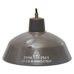 Brown Enamel Vintage Industrial Factory Pendant Light