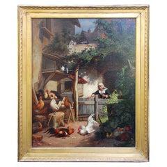 German 19th Century Original Oil on Canvas by Gustav Konrad Sus