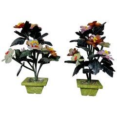 Pair of Chinese Vantage Hard Stone & Jade carved Flower Plants, #2 Medium