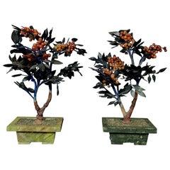 Pair of Chinese Vantage Hard Stone & Jade Carved Flower Plants, #3 Large