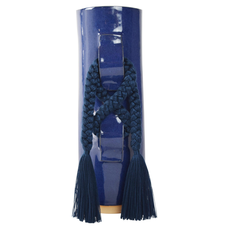 Handmade Vase #696 in Blue with Navy Tencel Fringe